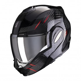 CASCO SCORPION EXO TECH PULSE NEGRO CON ROJO