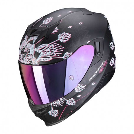 CASCO SCORPION EXO 520 AIR TINA NEGRO MATE CON PLATA