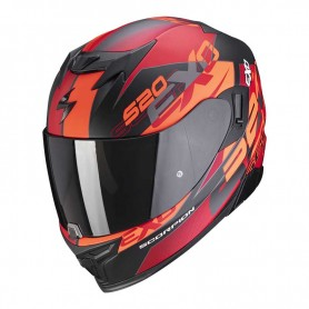 CASCO SCORPION EXO 520 AIR COVER ROJO NARANJA Y NEGRO