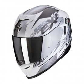 CASCO SCORPION EXO 520 AIR COVER BLANCO Y PLATA