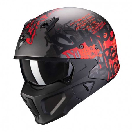 CASCO SCORPION COVERT-X WALL TAPETE ROJO OSCURO Y PLATA