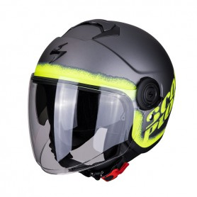 CASCO SCORPION EXO CITY BLURR PLATA MATE CON AMARILLO