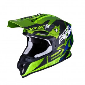 CASCO SCORPION VX 16 AIR ALBION VERDE MATE CON NEGR0