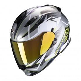 CASCO SCORPION EXO 510 AIR BALT GRIS CON BLANCO Y AMARILLO