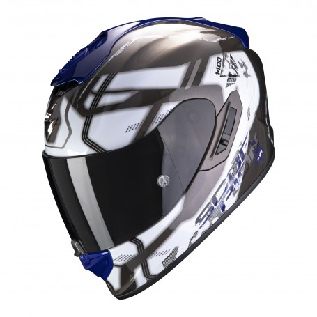 CASCO SCORPION EXO 1400 AIR SPATIUM BLANCO CON AZUL