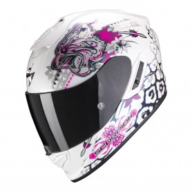 CASCO SCORPION EXO 1400 AIR TOA BLANCO CON ROSA